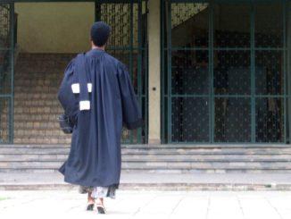 Une avocate rentrant dans un palais de justice.